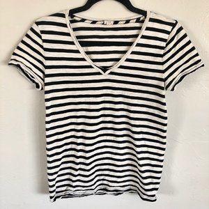J. Crew Black & White Striped V-Neck T-Shirt Top